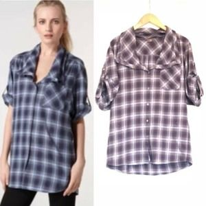 Vince Plaid Cowl Neck Button Down Blouse Top EUC